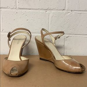 Prada Tan Distressed Patent Leather Wedges